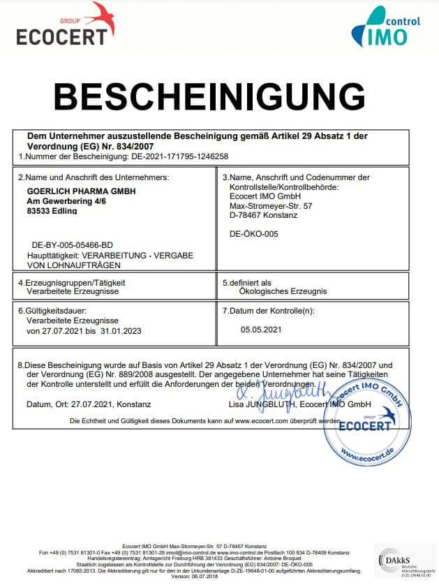 Bio Zertifikat Goerlich Pharma