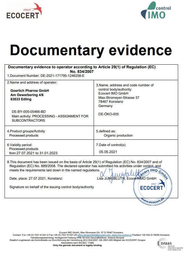 Organic Production Certificate Goerlich Pharma
